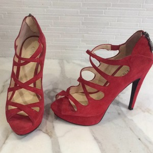 Guess Red suede Platforms