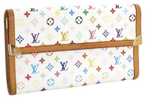 Louis Vuitton GREAT:Multicolor Rainbow Murakami Checkbook Credit Card Coin Wallet