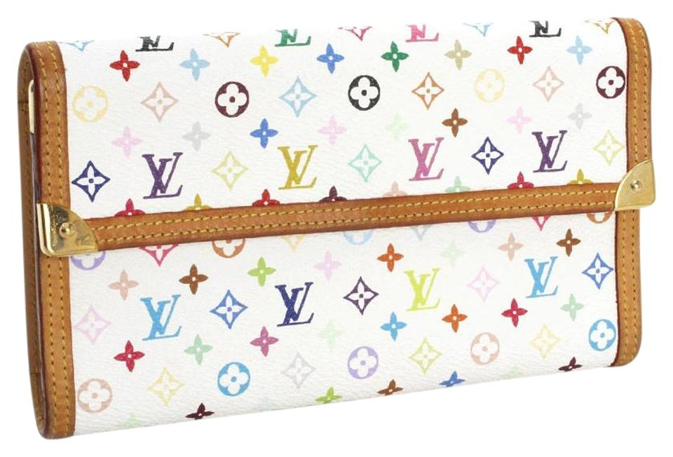 38b1270c8f2 Louis Vuitton White Multicolor Murakami Rainbow Great Checkbook Credit Card  Coin Purse Wallet 52% off retail