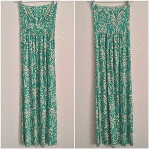 Teal and White Maxi Dress by