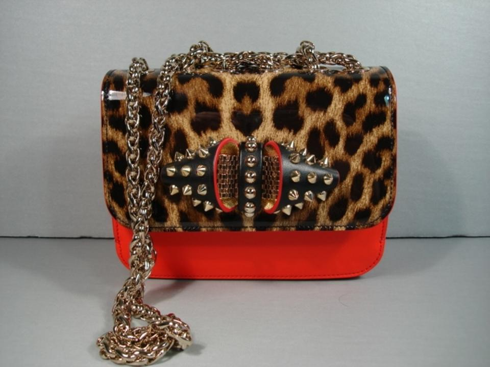 0ea69c3ae14 Christian Louboutin Sweet Charity Spikes Cross Body Red Black & Leopard  Leather Patent Leather Shoulder Bag