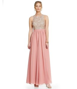 Aidan Mattox Racer-back Gown Embellished Sequin Dress