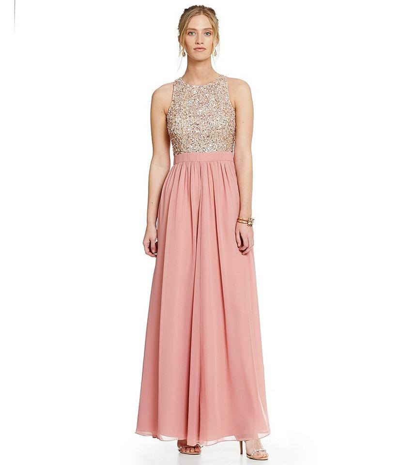 Aidan Mattox Pink Sequin Racer-back Embellished Gown Long Formal ...