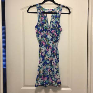 Lush short dress Blue and floral on Tradesy