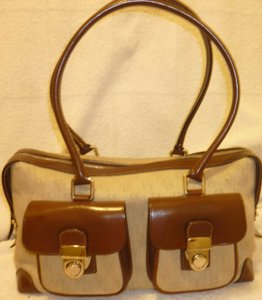 Dooney & Bourke Refurbished Monogram Satchel in Beige and Brown