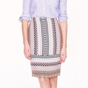 J.Crew Drapey Pencil Skirt pink geo multi