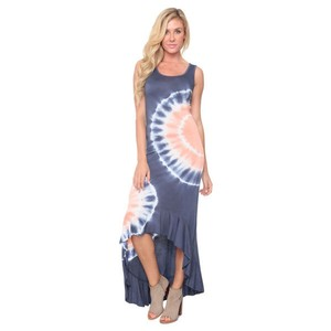 Muted blue and red Maxi Dress by White Mark High-low Tie Dye Comfortable Stretchy Red-white