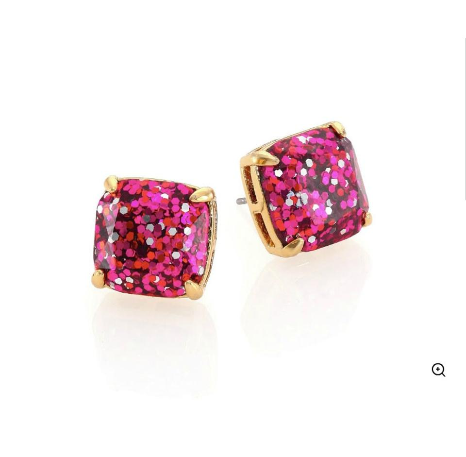 Kate Spade New Pink Glitter Studs Earrings