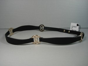 Chanel Chanel Black Leather Belt Pale Gold