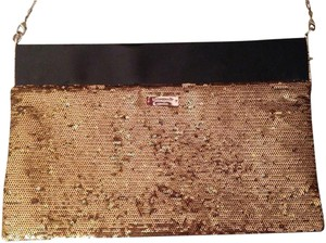 Kate Spade Sparkle Sequin Patent Leather Gold Clutch