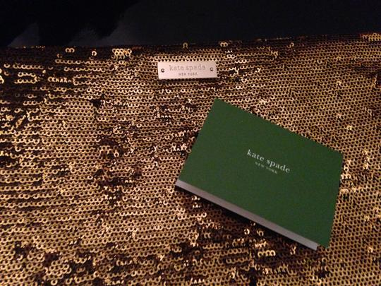 Kate Spade Sparkle Sequin Patent Leather Glitter Gold Clutch