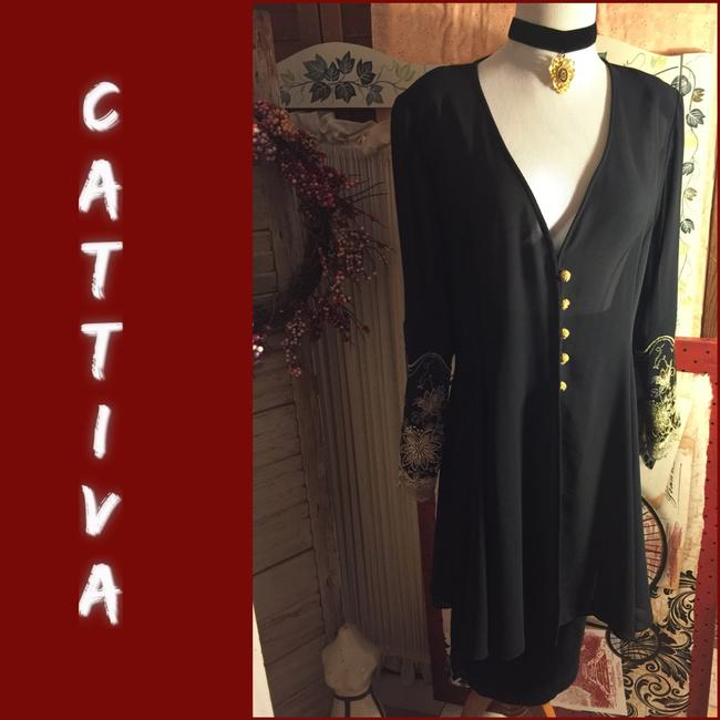 Item - Black/Gold 8-vintage Sheer Black/Gold Button-embroiderrd Sleeve Over Jacket Tunic Size 8 (M)