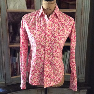 Ralph Lauren Button Down Shirt Light and dark pink, white, green and yellow.