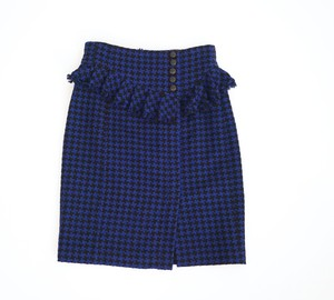 Nanette Lepore Tweed Houndstooth Straight Skirt Blue Black