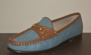 Gucci Leather Loafers Blue / Brown Flats