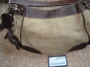 Prada Canvas Leather Silver Hardware Shoulder Bag
