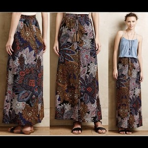 Anthropologie Paisley Leather Tassles Skirt Blue