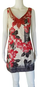 Free People short dress Red, White and black Floral Cotton Sheath Mini Embroidered on Tradesy