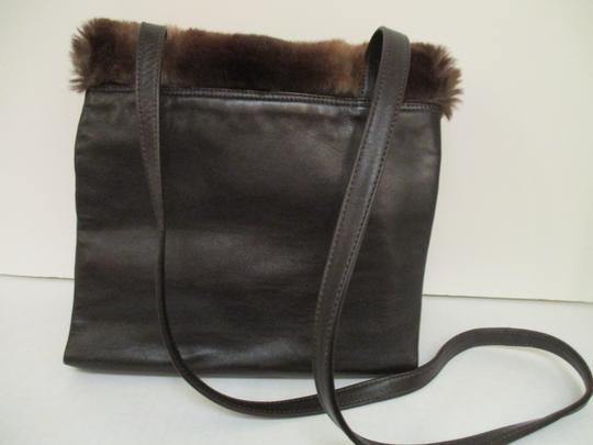 Neiman Marcus Vintage Large Flap Closure Faux Fur Shoulder Bag Image 3