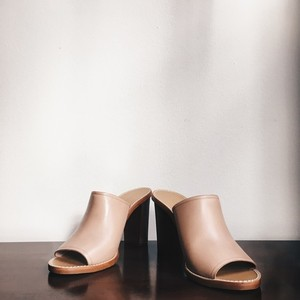 J.Crew Leather Chunky Heal Tan Mules