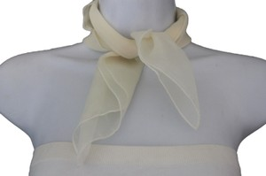 Other Sheer Square Pocket Detailed Women Scarf Cream Off White Soft Fabric