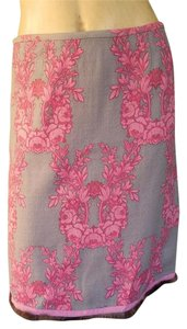 Tracy Reese Floral Wool Skirt Beige Pink