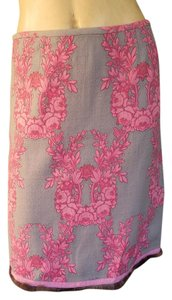 Tracy Reese Wool Floral Skirt Pink and Beige