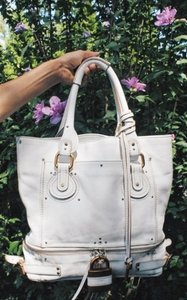 Chloé Chloe Paddington Leather Tote in White