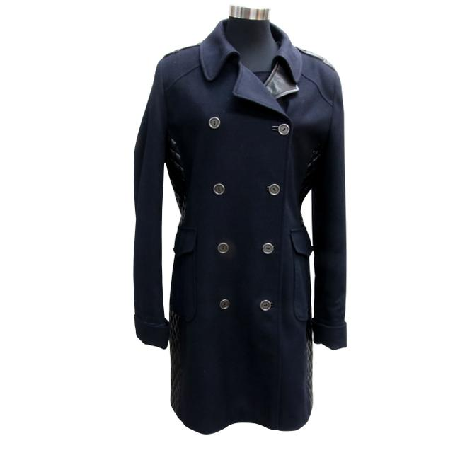 Item - Blue Winter with Quilted Leather Panels Coat Size 8 (M)