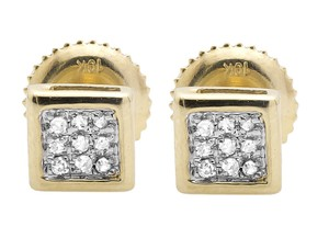 10k Yellow Gold 5mm Square Kite 1/20th Ct. Genuine Diamond Earrings