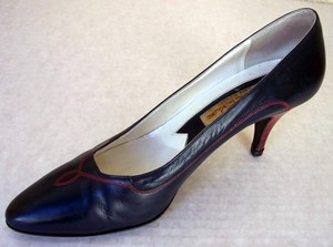Oscar de la Renta Leather Navy Dark Blue Pumps