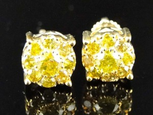 Other 10k Mens Ladies Yellow Gold Mm Canary Diamond Earrings 1.09 Ct