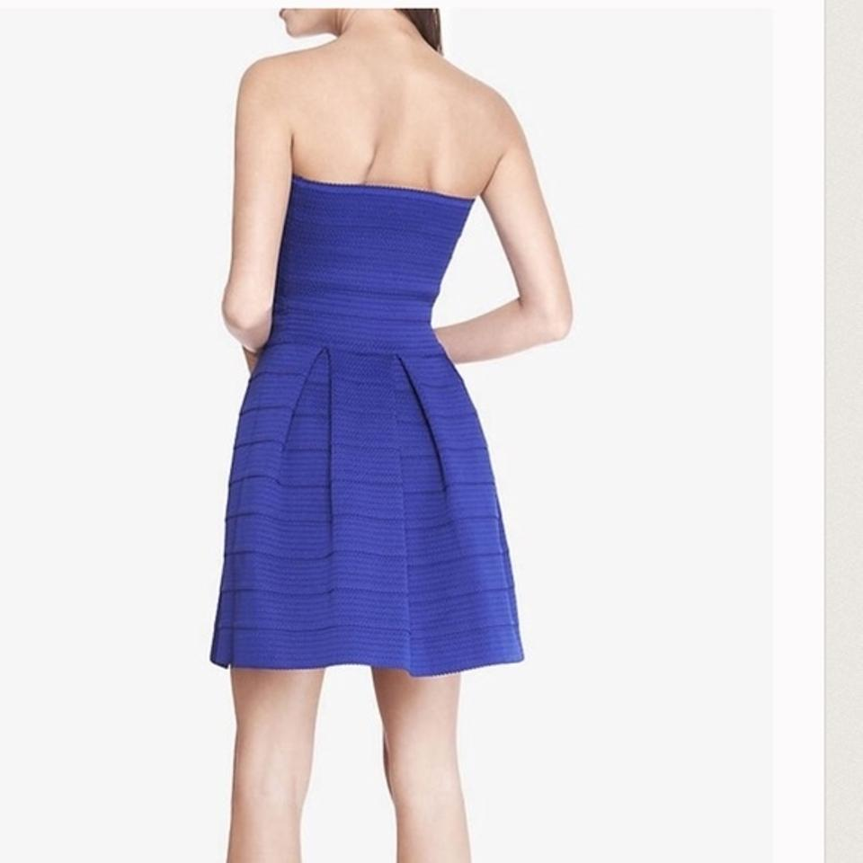 Express Blue Bandage Fit and Flare Strapless Mid-length Short Casual ...