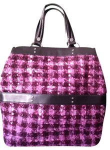 Donald J. Pliner Satchel in Pink, Fushia, Burgundy Herringbone Pattern