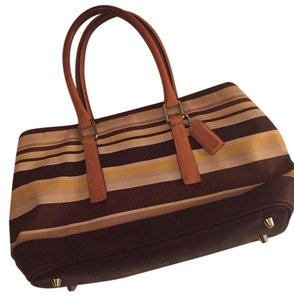 Coach Satchel in Yellow, Cream, and Brown