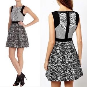 Karen Millen short dress Black and white leopard print Mini on Tradesy