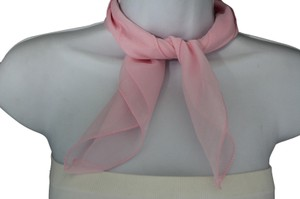 Versatile Sheer Scarf Light Creamy Pink Soft Fabric Square Pocket