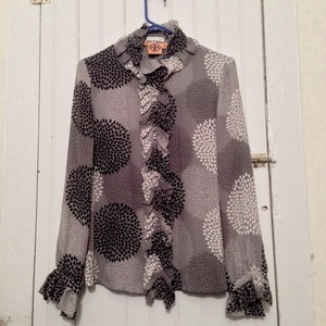 Tory Burch Button Down Shirt Black white and grey