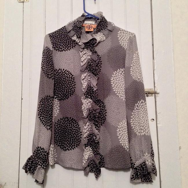 Tory burch black white and grey button down shirt 68 for Tory burch button down shirt