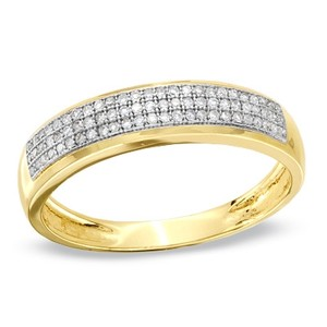 Zales Men's 1/4 Ct. T.w. Diamond Three Row Band In 10k Gold - Size 10.5