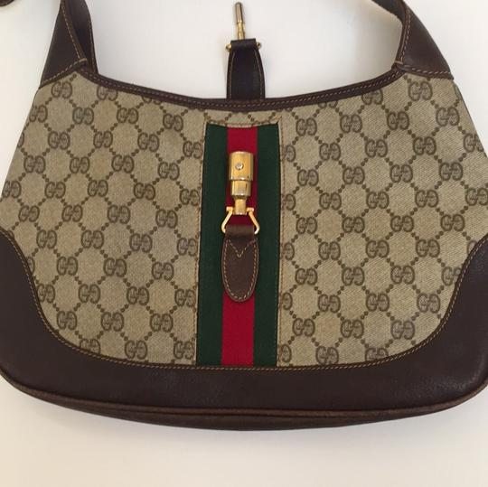 Gucci Brown & Beige Leather Treated Vinyl W/ Signature Red ...