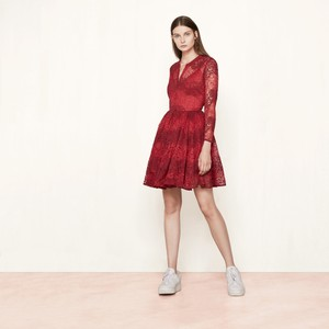 Maje short dress Red Party Elegant Romantic Lace on Tradesy