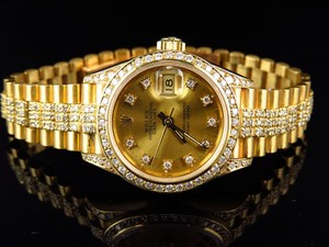 Rolex Ladies 27 Mm Rolex President Datejust 18k Yellow Gold Diamond Watch