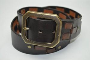 Linea Pelle Black and Brown Woven Leather Belt with Brass Buckle