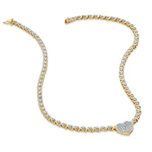 Diamond Accent Heart Necklace In 18k Gold-plated Sterling Silver -17