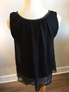 Violet & Claire Sheer Flowy Sleeveless Top Black