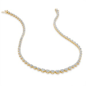 Zales Diamond Accent Heart Link Necklace In 18k Gold-plated Sterling Silver