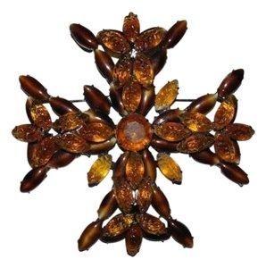 Kenneth Jay Lane KENNETH LANE POURED GLASS GRIPOIX MALTESE CROSS PIN pic 2