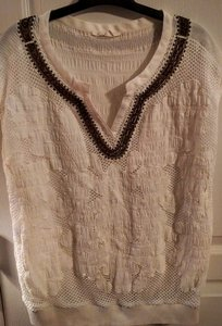 Anthropologie Embroidered Lace Sleeveless Bohemian Boho Sweater