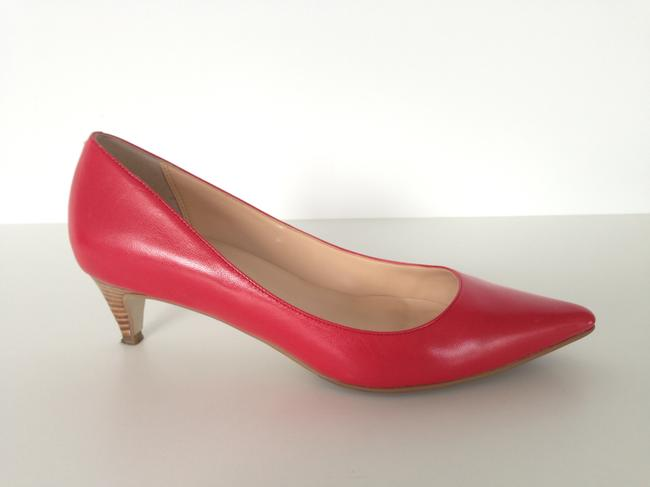 Item - Red Leather Pumps Size US 7 Wide (C, D)